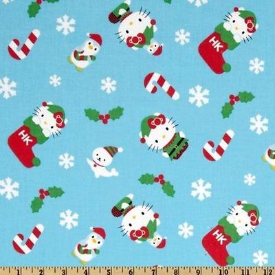 Hello Kitty Christmas.Oop Hello Kitty Christmas On Blue Btfq 18 X22 Ebay