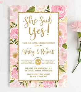 Pink and gold floral engagement invitation blush floral roses party image is loading pink and gold floral engagement invitation blush floral mightylinksfo