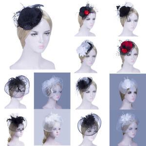 Women-Chic-Flower-Feather-Mesh-Fascinator-Hat-Hair-Hoop-Hair-Clip-Decor-Party