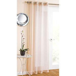 Argento-Glitter-Sparkle-Oro-Pallido-spessa-voile-con-occhielli-intestazione-Net-Curtain-Panel