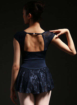 Professional New Navy Modern Ladies Adults Teen Ballet Dance Leotard Lace Dress