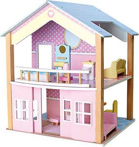 Casa-delle-bambole-2-Piani-ruotabile-15-Mobili-Legno-3-Anni-ca-42-x-39-x-50cm