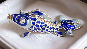 Vintage Cloisonne Enamel Silver Koi Fish Pendant !!TOPP