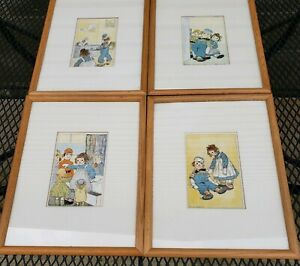 Raggedy-Ann-And-Andy-Vintage-Decor-Prints-Framed-15-034-x-12-034-Set-of-4