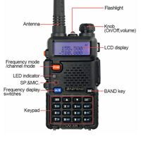 Baofeng UV-5R 136-174/400-480Mhz FM Ham Two-Way Radio Black walkie keypad