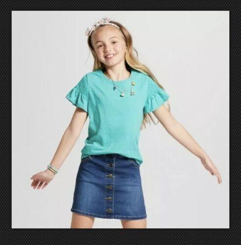 Girls/' Smocked Short Sleeve Top Jade Green XS SM MED LARGE #pb23 Cat /& Jack