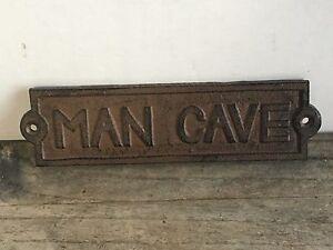 Superieur Image Is Loading Cast Iron MAN CAVE Door Plaque Garden Sign