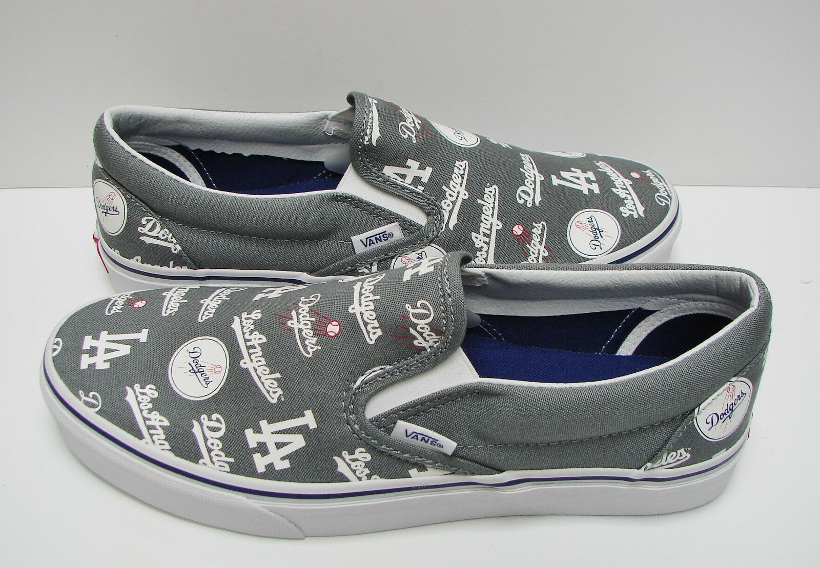Vans Classic Slip On MLB Los Angeles Dodgers Grey VN0A38F7PQ0 Men's Size  10.5