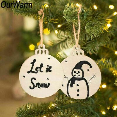 10-50x 6cm Wood Log Slices Discs Round Christmas Tree Hanging Ornament DIY Craft