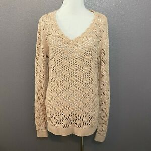 Ann-Taylor-LOFT-Size-M-V-Neck-Blush-Pink-Crocheted-100-Cotton-Pullover-Sweater