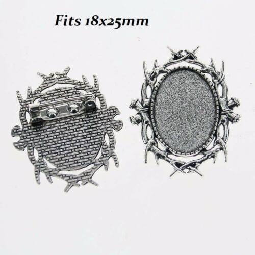 2 x Argent Antique Ovale Branch Cabochon Broche Décor pour verre 18x25mm