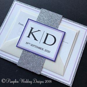 Image is loading Cadbury-Purple-Lilac-and-Silver-Glitter-Wedding-Invitations - 505660ca46ad