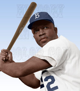 jackie robinson brooklyn dodgers 1954 color photo baseball hall of
