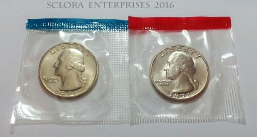 *MINT CELLO*  **FREE SHIPPING** 1971 P /& D Washington Quarter Set 2 Coins