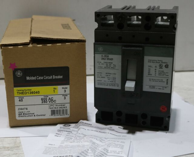 GE THED136040 3 Pole 40 Amp Circuit Breaker   eBay