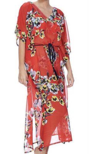 FANTASIE CALABRIA KAFTAN DRESS RED BLACK FLORAL BEACH SWIMWEAR COVER UP 6264 NEW
