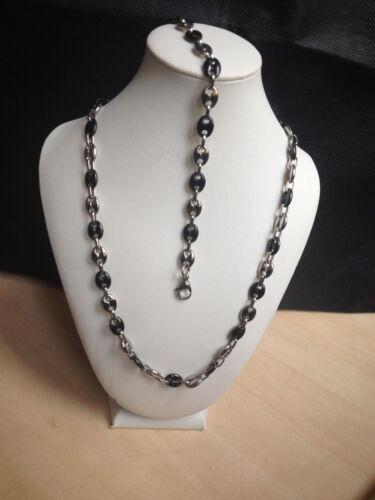 collier et bracelet  graine café  en acier inoxydable argenté et noir