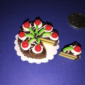 DOLLHOUSE-Mini-Food-CHOCOLATE-CHERRY-LIME-ICED-CAKE-8-x-SLICES-BARBIE-PARTY