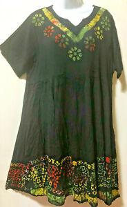 Nwt-SACRED-THREADS-funky-batik-hippie-tier-rayon-babydoll-DRESS-1X-Free-shipping