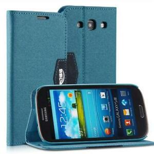 Livre-Coque-Pour-Samsung-Galaxy-S3-Anthracite-Bleu-Avec-Fermeture-Magnetique-Neu