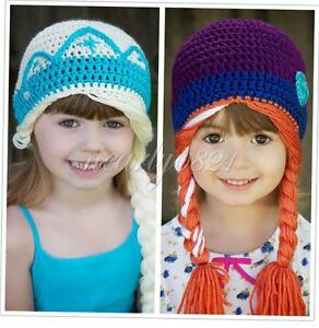 Toddler Baby Girl Kids Princess Crochet Knit Beanie Hat Photo Prop Caps Costume