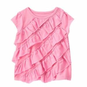 NWT Gymboree Girls Picture Day Pink Ruffle Top Tee Size 12-18-24 M 2T 3T 4T 5T