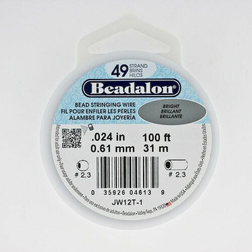Strong Flexible Wire Beadalon 49 Strand Beading Wire .024 30ft /& 100ft Spools