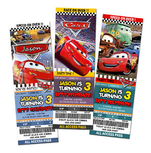 Image Is Loading CARS DISNEY MCQUEEN 1 2 BIRTHDAY PARTY INVITATION