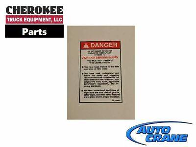 Serious Crush Injury Decal Auto Crane 040581000