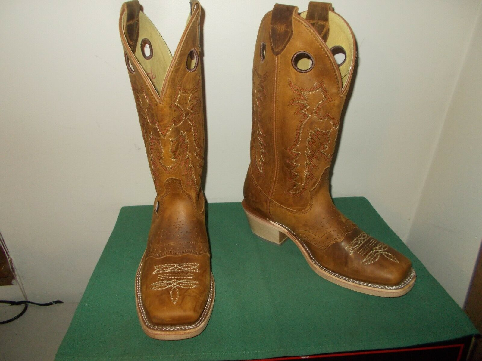 Mens 13 Inch Square Toe Old Town Buckaroo Western Cowboy Boots 10 D Leather NEW