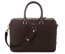 Aspinal of London Mount Street Laptop Bag in Chocolate Brown Saffiano. RRP £550.