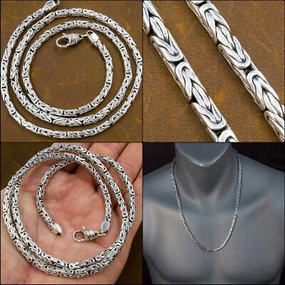 925 Sterling Silver Square Thick Byzantine Chain Necklace 17