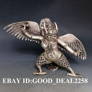 Oriental vintage Silver Copper Hand-carved Leizhenzi Statue