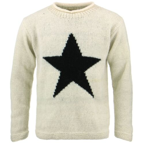 Chunky de Crema de Pullover cuello Jersey Knit lana Star enrollada Sweater Knit redondo qtn4dA