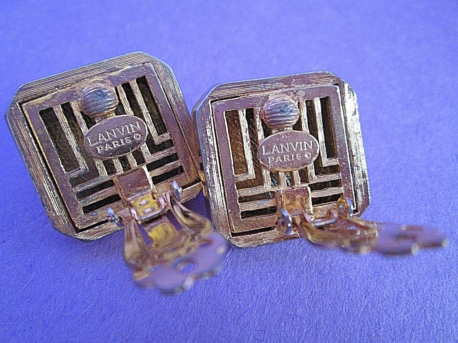 Lanvin Paris Gold Tone Clip Earrings Signed Vinta… - image 2