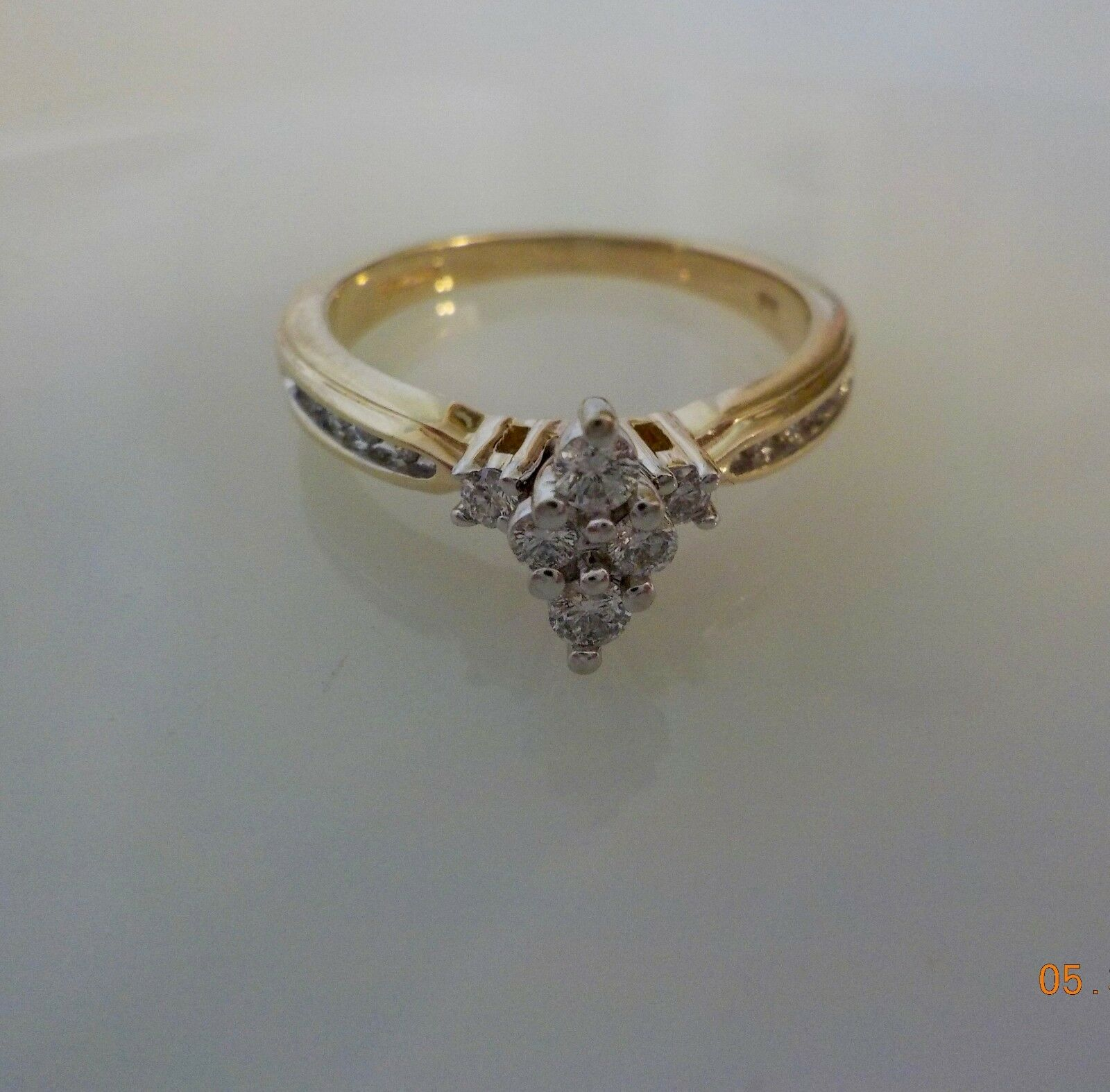 10K Yellow gold Size 7 Diamond Marquis Cluster Top Ring   R1333