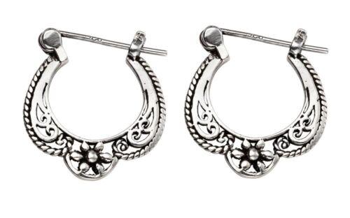 Pair 925 Sterling Silver 15mm Vintage French Lock Hoop Sleeper Earrings D2