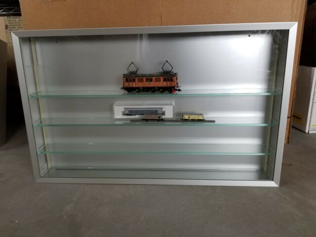 Marklin Wall Display in Glass and Aluminum 25 x 15 inches with 4 shelves