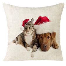 Xmas Christmas Cat Sofa Home Decoration Festival Pillow Case Cushion Cover NEU