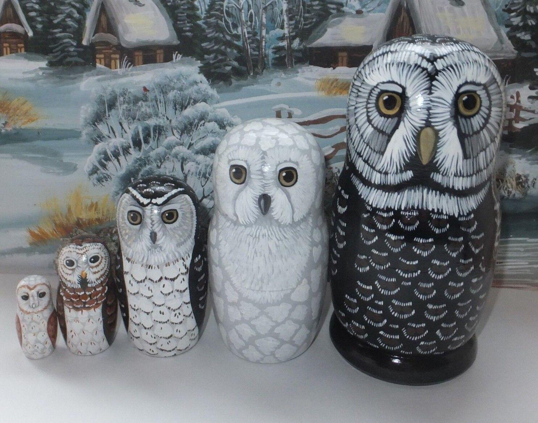 Russe Matriochka poupée de nidification Babushka Beauté Owls Handmade