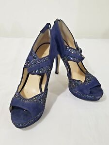 Enzo-Angiolini-Blue-Suede-High-Heel-Open-Toe-Women-039-s-Shoes-Size-7-5M
