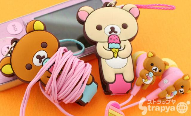 Rilakkuma Bear Phone Strap cable wire earphone cord organizer UK seller Cute
