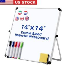 Small Dry Erase White Board 14 X 14 Double Sided Portable Magneticpen Eraser