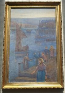 Julian-E-Drummond-1824-1906-very-large-original-signed-painting-Harbour-Scene