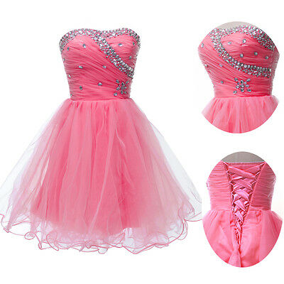 UK stock~Graduation Party Ball Gown Evening Bridesmaid Cocktail Short Prom Dress