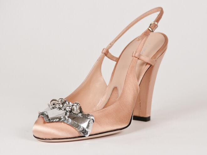 New Alessandro Dell'Acqua Beige satin sandals Size 37 US 7
