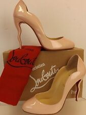 NIB LOUBOUTIN WAWY DOLLY BABY PINK PATENT LEATHER SQUIGGLY HEEL CLASS PUMPS 38.5