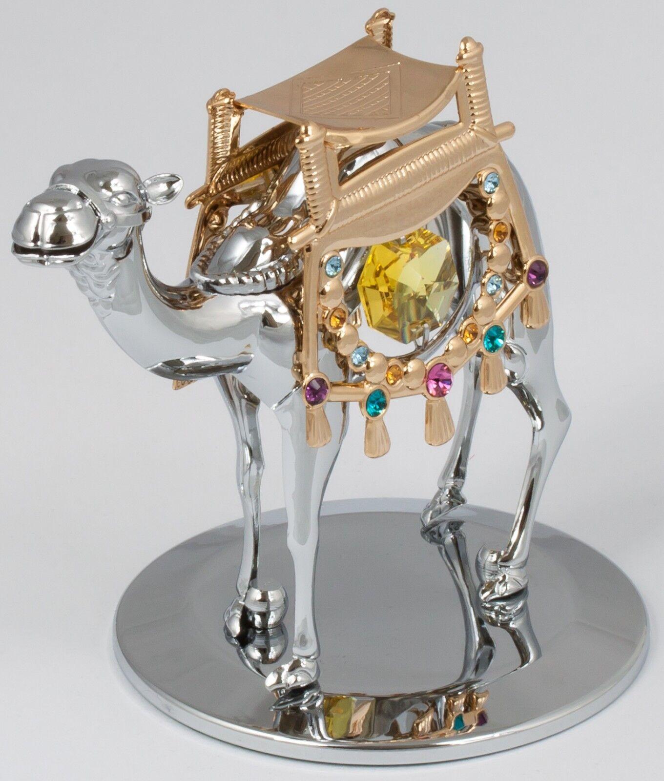 Kamel Kristallglas Figur Dekoration silberfarben MADE WITH SWAROVSKI ELEMENTS
