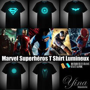Lumineux-T-shirt-Avengers-Marvel-Batman-Iron-man-Superheros-Tee-shirt-Heros