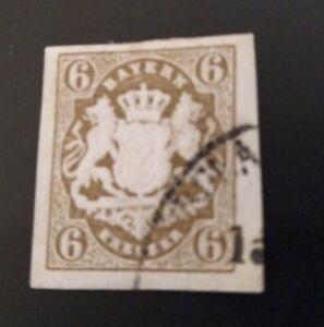 Bayern-Wappen-6-Kreuzer-dunkelockerbraun-Mi-Nr-20-mit-Einkreisstempel